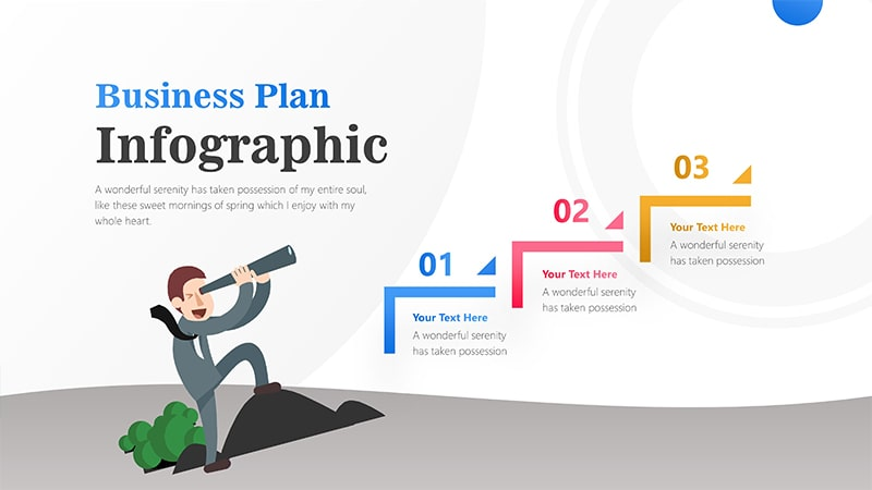3 Steps For Business Man With Binocular Infographic Presentation 1