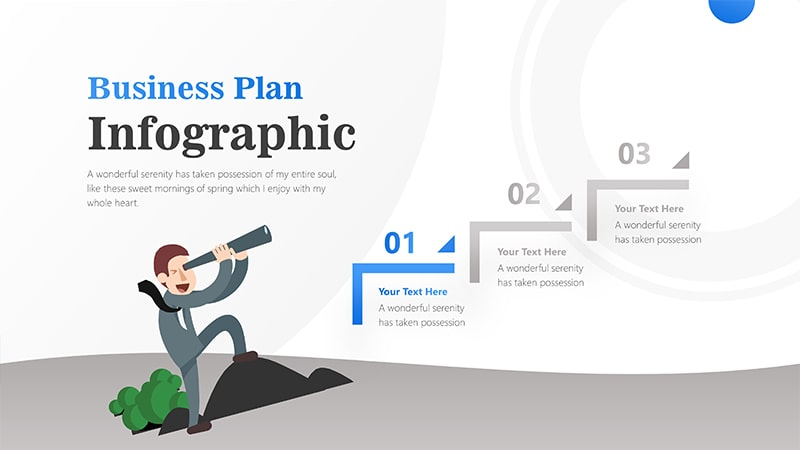 3 Steps For Business Man With Binocular Infographic Presentation 2