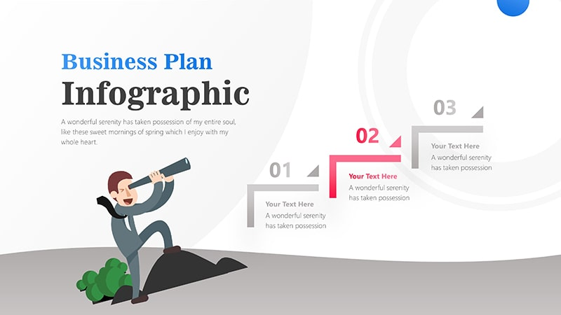 3 Steps For Business Man With Binocular Infographic Presentation 3