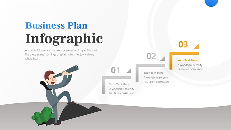 3 Steps For Business Man With Binocular Infographic Presentation 4