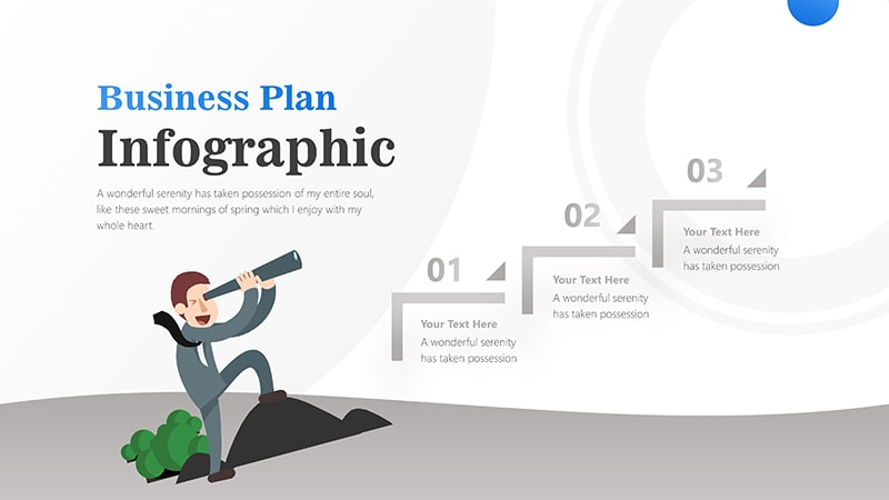 3 Steps For Business Man With Binocular Infographic Presentation 5