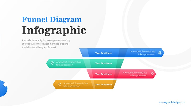 4 Levels Funnel For Sales Process with Text and Icons Infographic Presentation 1