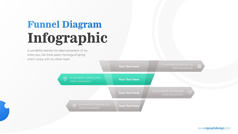 4 Levels Funnel For Sales Process with Text and Icons Infographic Presentation 3