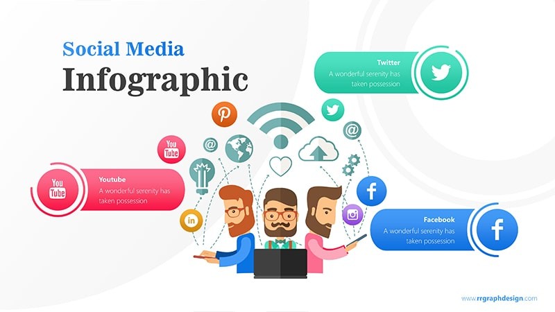 Business Team Character With Social Media Icons Ilustration 1