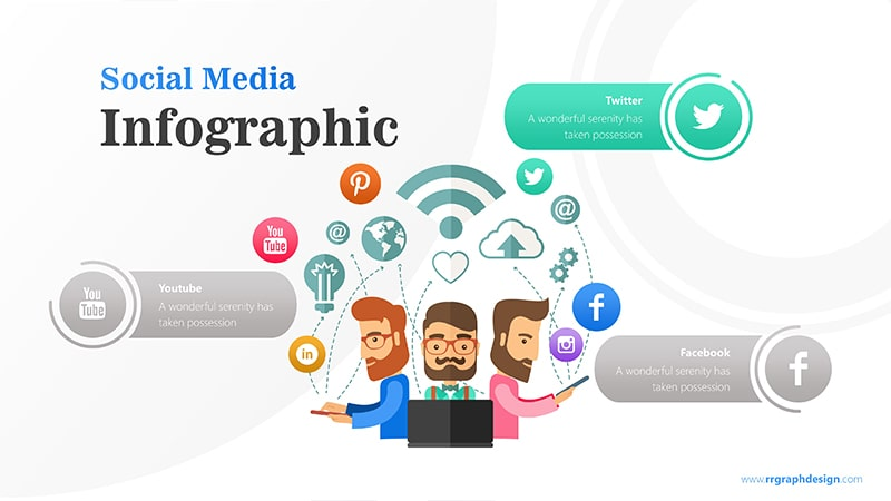 Business Team Character With Social Media Icons Ilustration 2