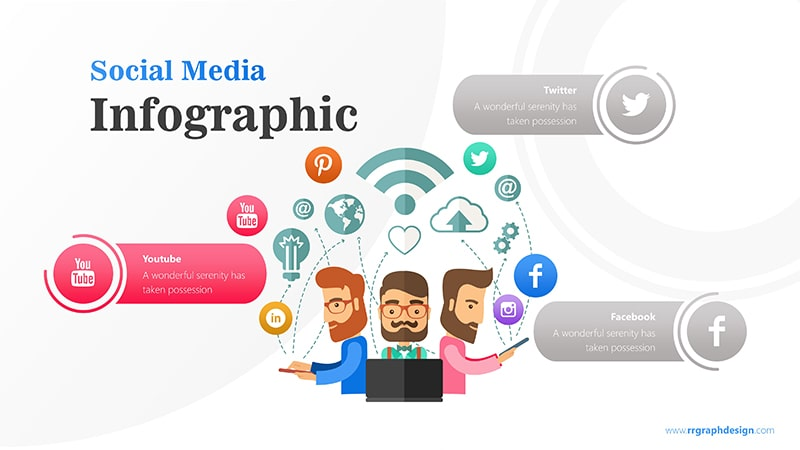Business Team Character With Social Media Icons Ilustration 3