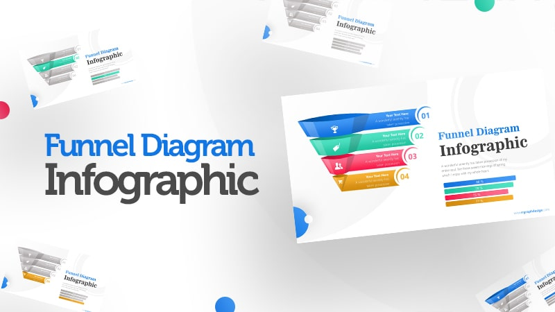 Colorful 3D Funnel Diagram with Numbers and Percentage Bar Infographic Presentation 0