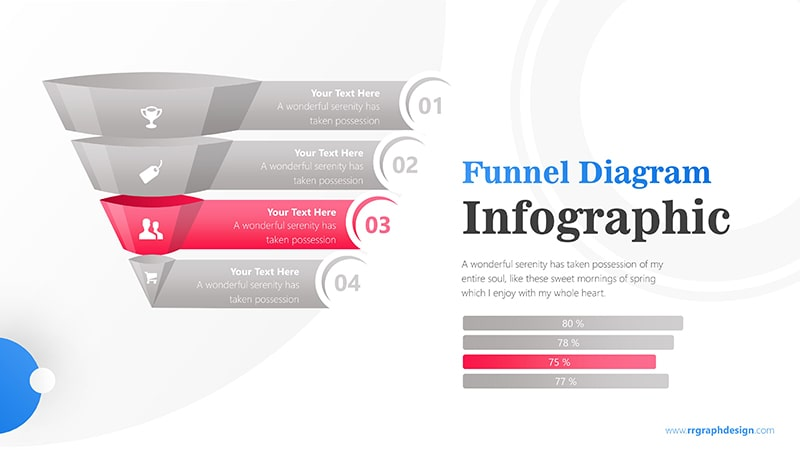 Colorful 3D Funnel Diagram with Numbers and Percentage Bar Infographic Presentation 4