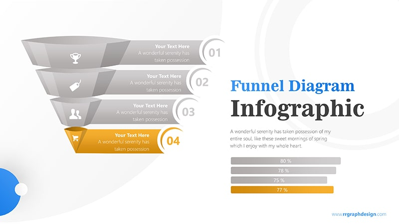 Colorful 3D Funnel Diagram with Numbers and Percentage Bar Infographic Presentation 5