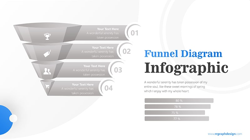Colorful 3D Funnel Diagram with Numbers and Percentage Bar Infographic Presentation 6