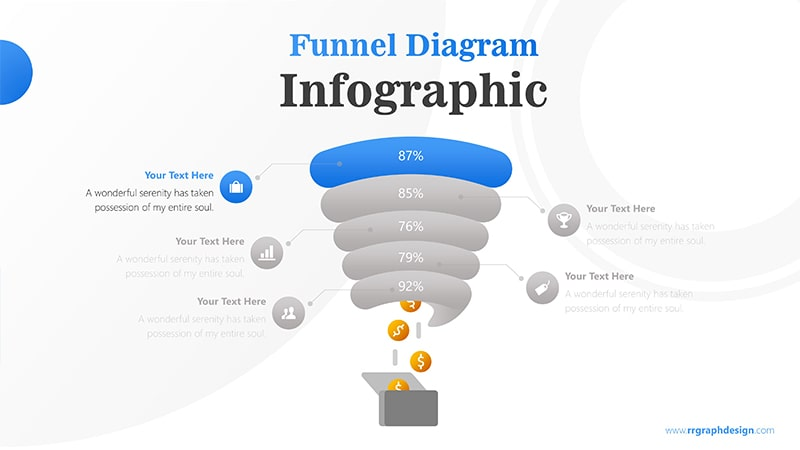 Creative Funnel Diagram Charts with Icons Points and Dollar Coins Graphic Infographic Presentation 2