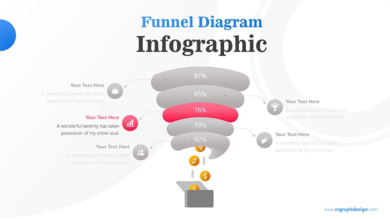 Creative Funnel Diagram Charts with Icons Points and Dollar Coins Graphic Infographic Presentation 4