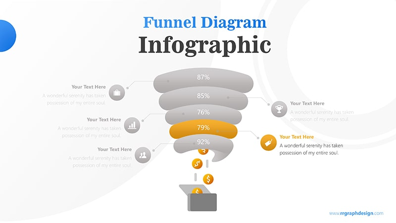 Creative Funnel Diagram Charts with Icons Points and Dollar Coins Graphic Infographic Presentation 5