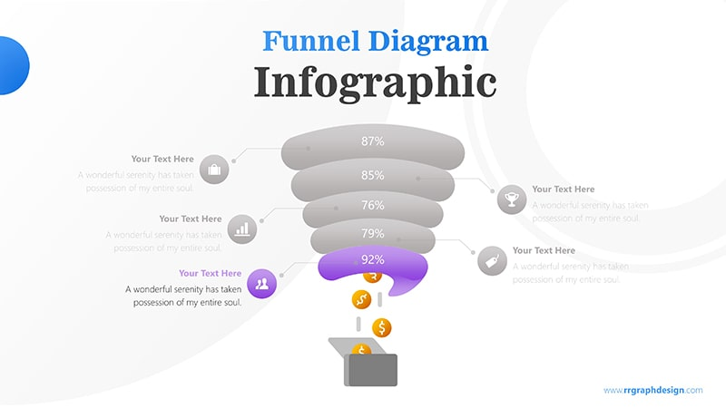 Creative Funnel Diagram Charts with Icons Points and Dollar Coins Graphic Infographic Presentation 6