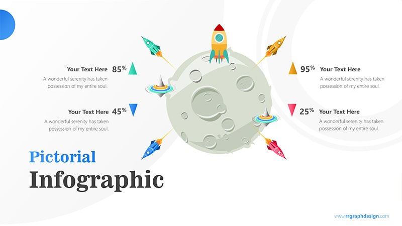 Four Achievement Process Step with Moon and Rocket Illustration Infographic Presentation 1