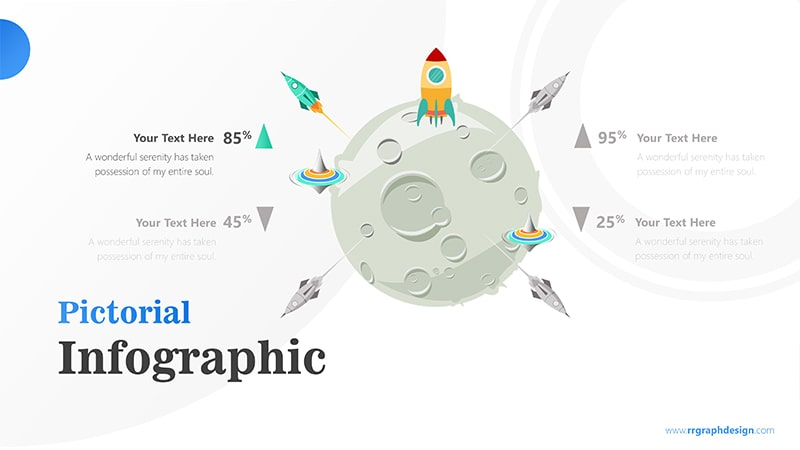 Four Achievement Process Step with Moon and Rocket Illustration Infographic Presentation 2