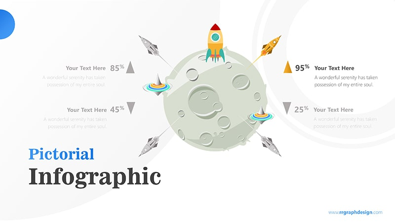 Four Achievement Process Step with Moon and Rocket Illustration Infographic Presentation 3