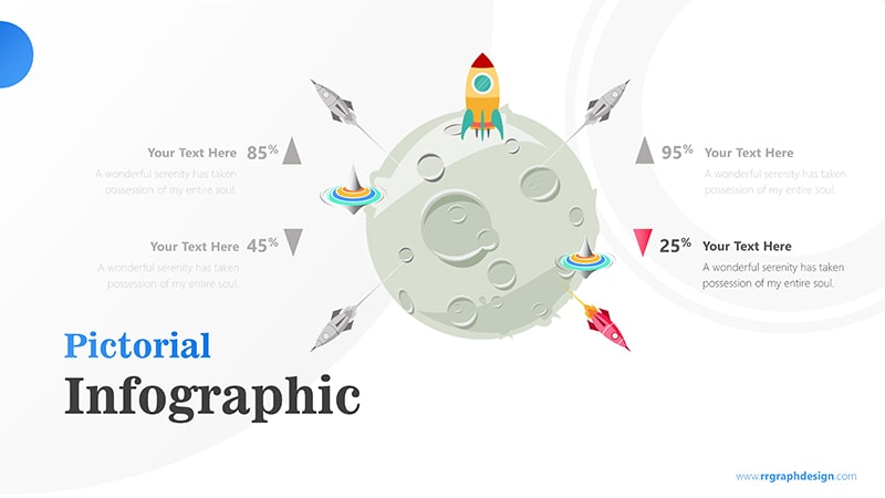 Four Achievement Process Step with Moon and Rocket Illustration Infographic Presentation 4
