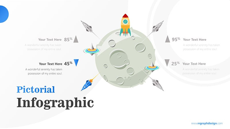 Four Achievement Process Step with Moon and Rocket Illustration Infographic Presentation 5