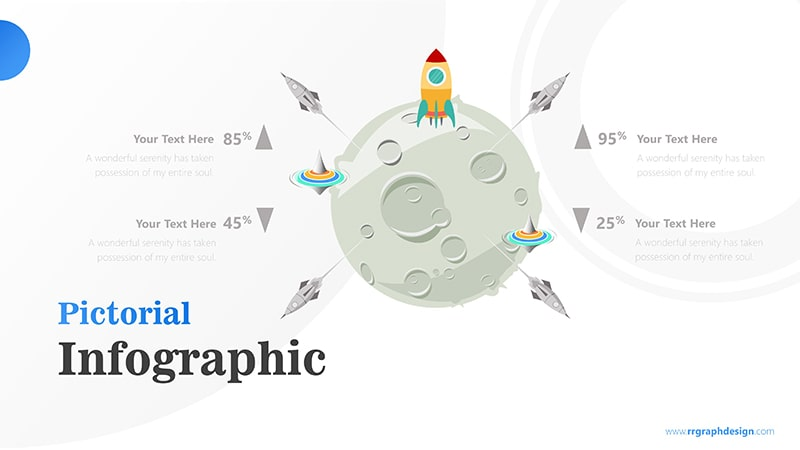 Four Achievement Process Step with Moon and Rocket Illustration Infographic Presentation 6