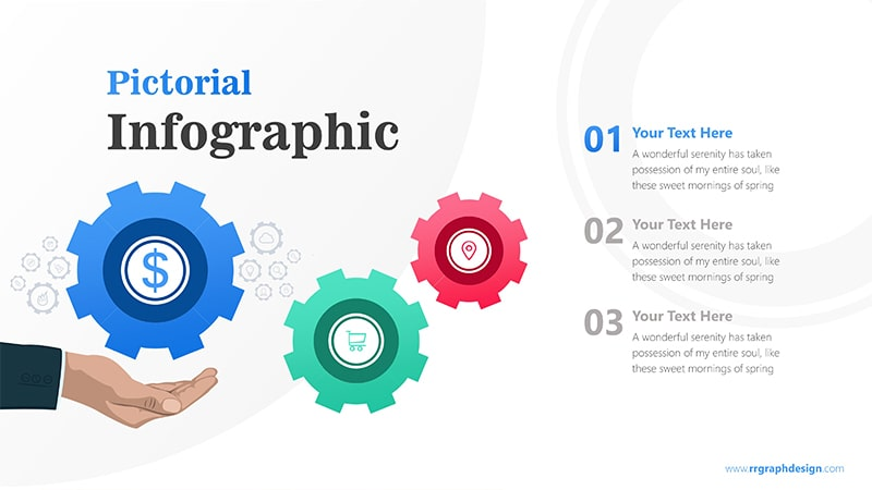 Sales Marketing Three Steps with Gear Infographic Presentation 2