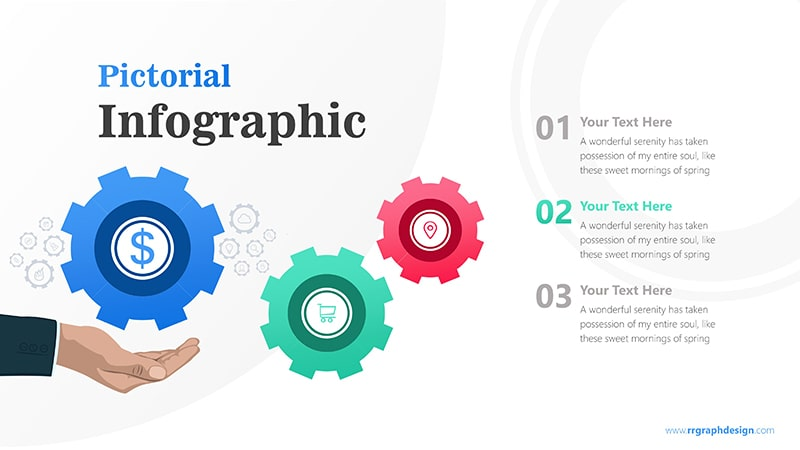 Sales Marketing Three Steps with Gear Infographic Presentation 3