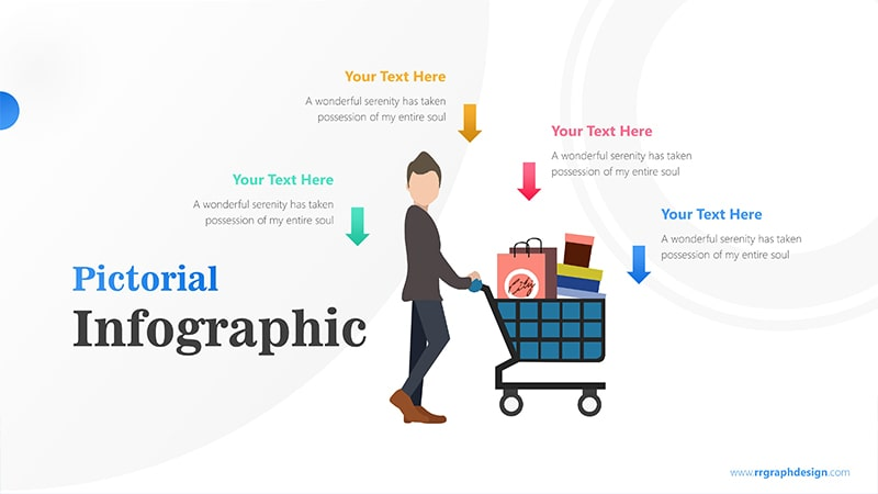 Shoping Cart with Businessman and Four Options Infographic Presentation 1