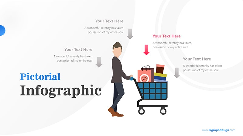 Shoping Cart with Businessman and Four Options Infographic Presentation 4