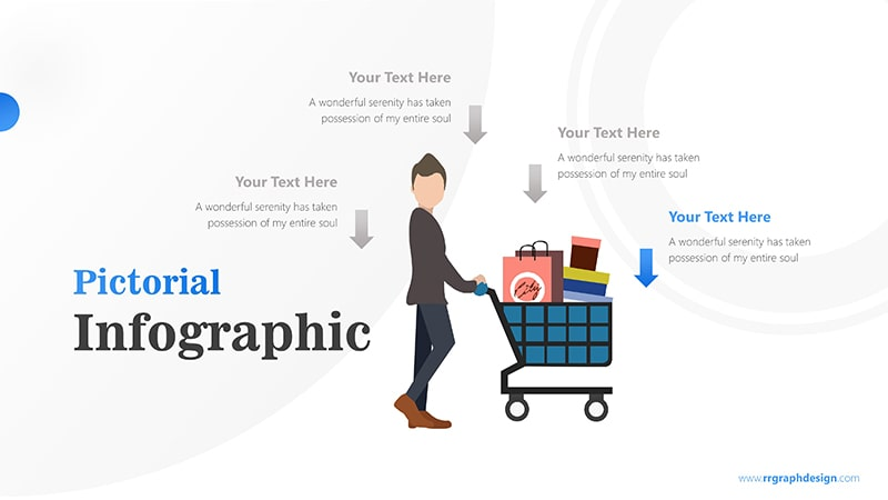 Shoping Cart with Businessman and Four Options Infographic Presentation 5