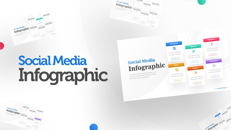 Social Media Icon and Six Options with Text Details Infographic Presentation 0