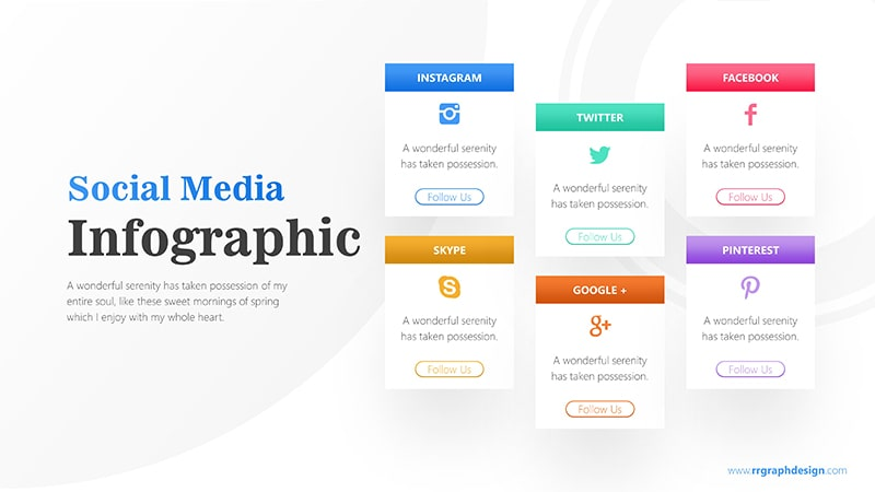 Social Media Icon and Six Options with Text Details Infographic Presentation 1