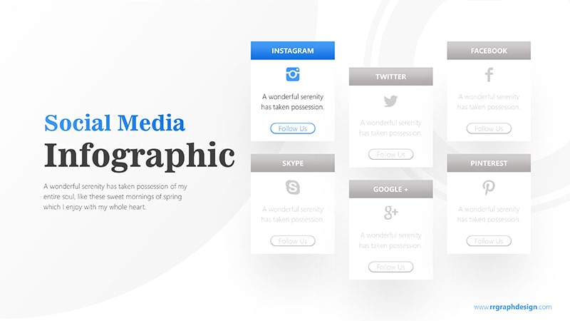 Social Media Icon and Six Options with Text Details Infographic Presentation 2