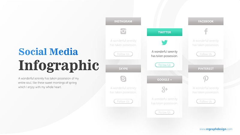Social Media Icon and Six Options with Text Details Infographic Presentation 3