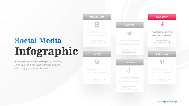 Social Media Icon and Six Options with Text Details Infographic Presentation 4