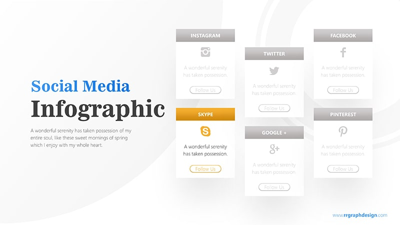 Social Media Icon and Six Options with Text Details Infographic Presentation 5