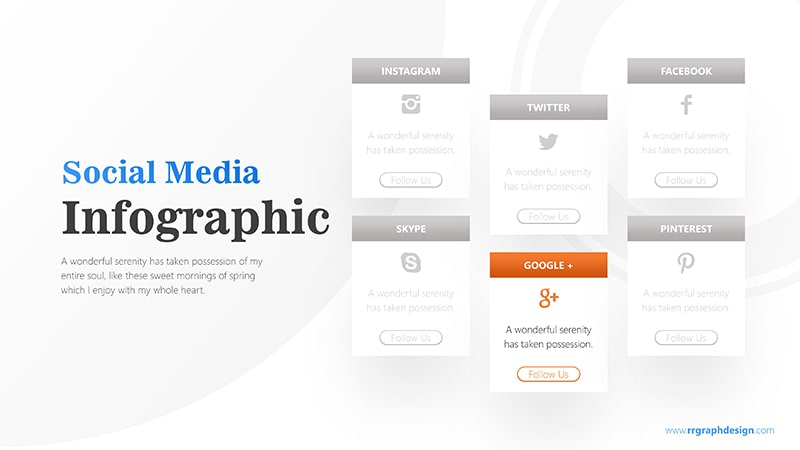 Social Media Icon and Six Options with Text Details Infographic Presentation 6