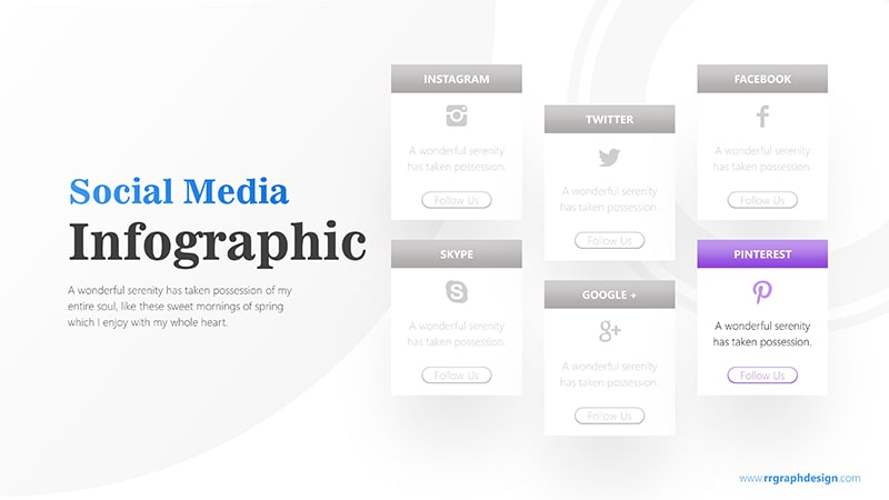 Social Media Icon and Six Options with Text Details Infographic Presentation 7