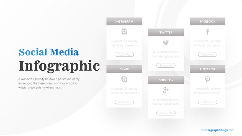 Social Media Icon and Six Options with Text Details Infographic Presentation 8