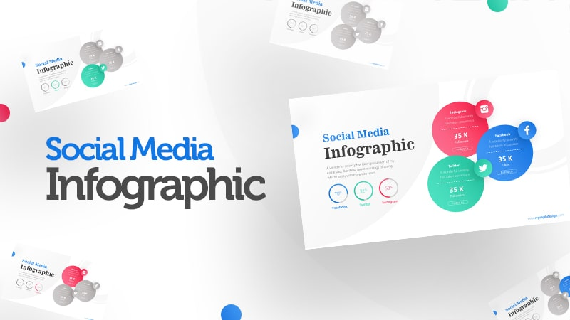 Three Circle Options with Social Media Icons and Pie Chart Percentage 0
