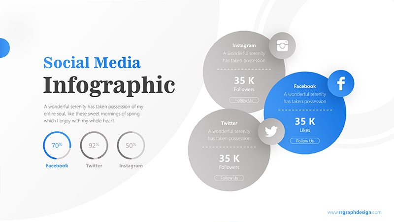 Three Circle Options with Social Media Icons and Pie Chart Percentage 2