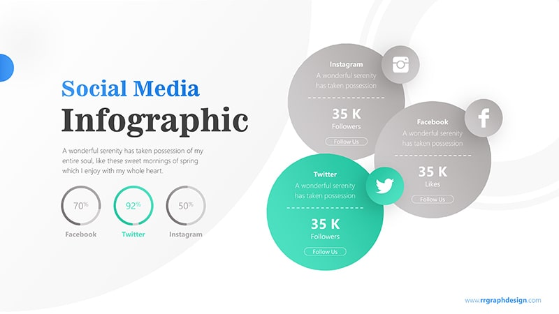 Three Circle Options with Social Media Icons and Pie Chart Percentage 3