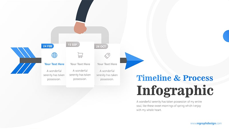 Three Plans Business and Arrow Process with Business Icons and Timelines 2