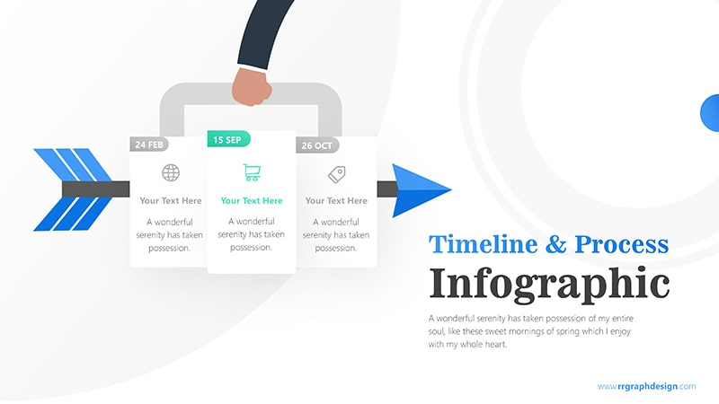 Three Plans Business and Arrow Process with Business Icons and Timelines 3