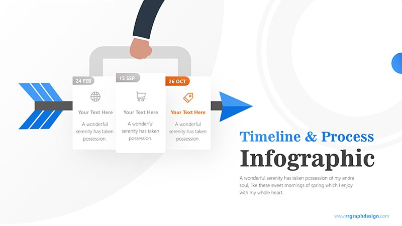Three Plans Business and Arrow Process with Business Icons and Timelines 4