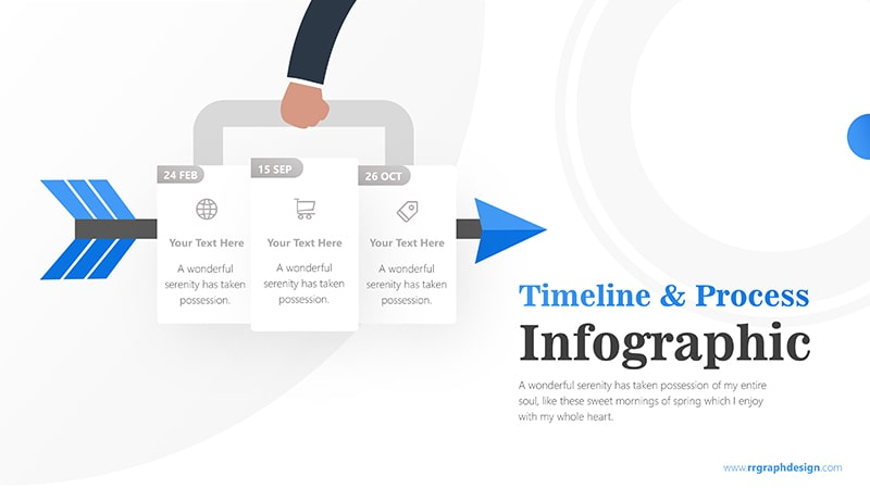 Three Plans Business and Arrow Process with Business Icons and Timelines 5