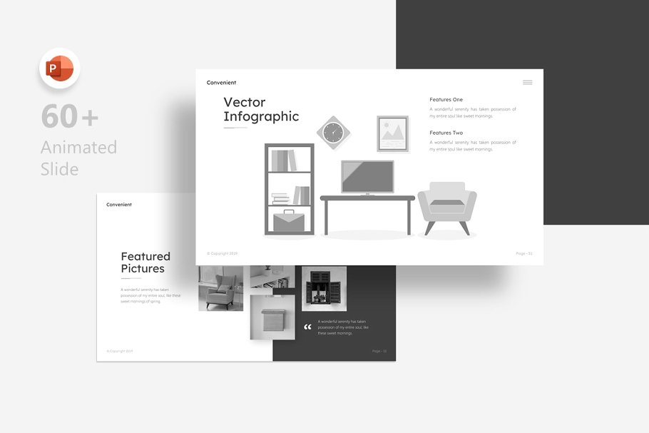 Convenient – Greyscale Interior Presentation Template
