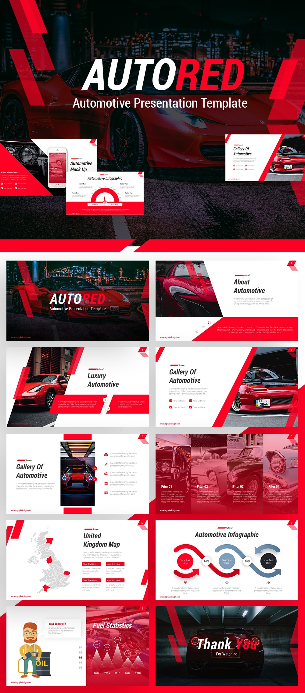 Free AutoRed Automotive PowerPoint