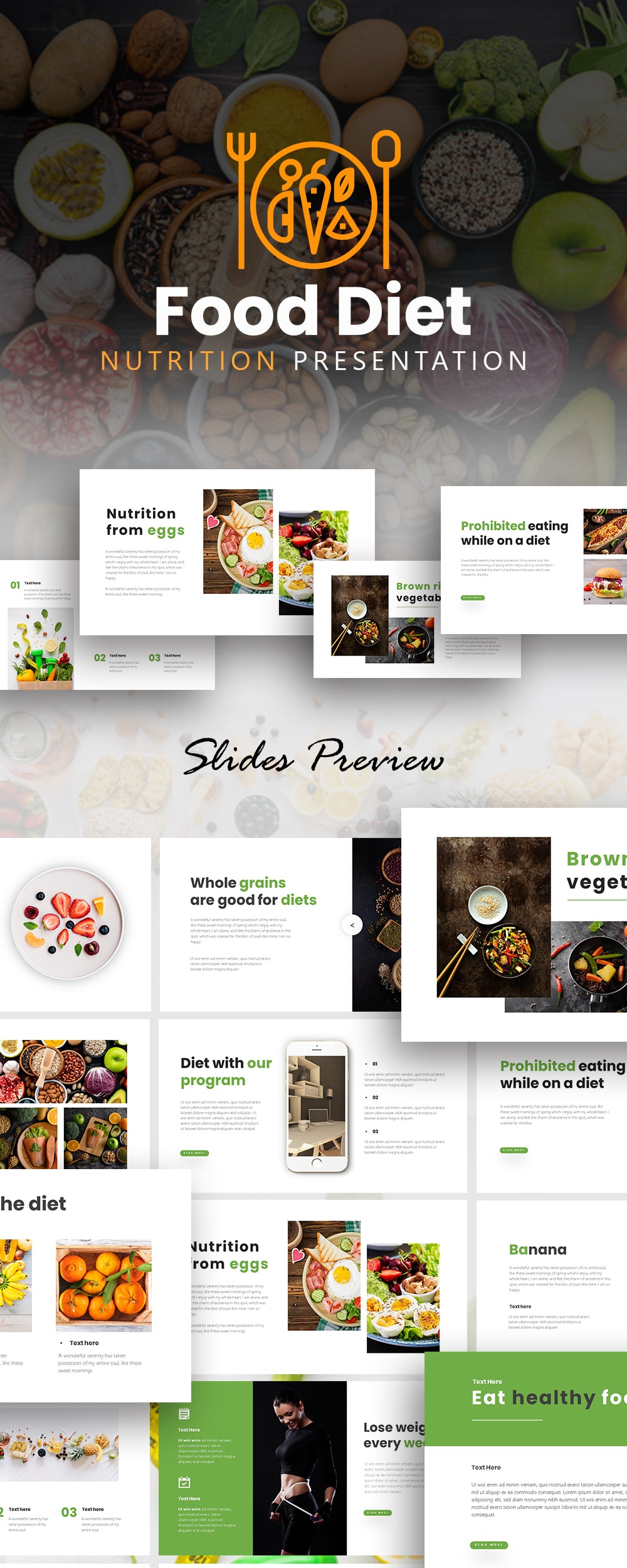 Free Nutrition Food Powerpoint Template Powerpoint Keynote Templates
