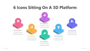 6 Icons Sitting On A 3D Platform Infographic Template